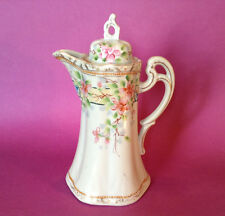 Chocolate Coffee Or Tea Pot - Ornate Handle - Hand Painted With Raised Moriage