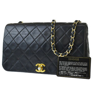 Auth CHANEL Matelasse Full Flap Chain Shoulder Bag Leather Black France 691R421