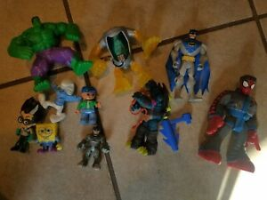 Lot of 10 Assorted Toys and Action Figures TMNT Batman Hulk Spiderman
