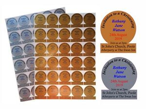 60 or 120 Envelope Seals / Invitation Stickers for Christening, Gold or Silver