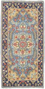 Vintage Floral Design Blue Small 2X4 Hand-Knotted Oriental Rug Kitchen Carpet