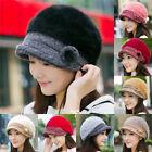 New Fashion Winter Warm Rabbit Fur Wool Women Flower Beret Hat Beanie Ski Cap