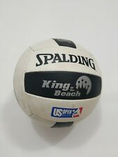 Vtg spalding king of the beach US open volleyball white black stripes spike
