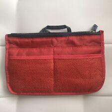 Cosmetic Bag Travel Organizer Nylon Zipper Closure Many Pockets Orange/Gray