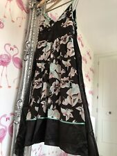 New £130 Ted Baker Brown A Line Floral 100% Silk dress (2) uk 10 Wedding Guest