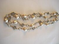 VINTAGE CHANEL SAUTOIR PEARL, SMOKEY AND CLEAR CRYSTAL NECKLACE
