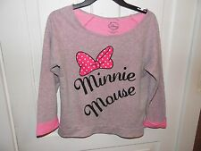 DISNEY MINNIE MOUSE WOMEN'S PINK BOW GRAY SHIRT TOP SZ SMALL