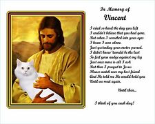 White Cat Memorial w/Jesus/Poem Personalized w/Cat's Name -Unique Pet-Loss Gift