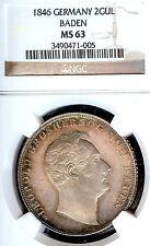 Germany Deutschland Baden-Durlach 1846 2 Gulden Coin Thaler NGC MS 63 Taler F.ST