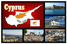 CYPRUS MAP / FLAG / SIGHTS - SOUVENIR NOVELTY FRIDGE MAGNET - BRAND NEW - GIFT