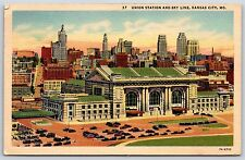 Union Station and City Sky Line in Kansas City, Missouri Linen Postcard