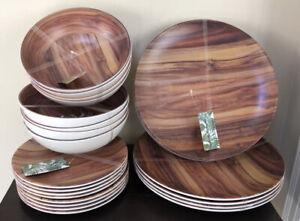 New! Tommy Bahama Melamine Bamboo Wood Grain Dinner Plate Bowl 24 Piece Set