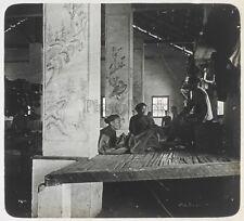 Indochine Intérieur d'un temple Photo K17 Plaque de verre Stereo Vintage
