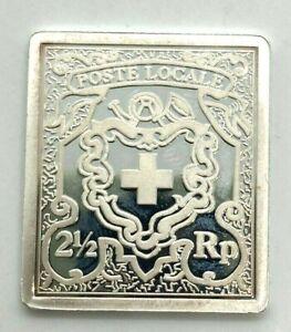 Schweiz 2 1/2 Rappen 1850 Briefmarke 999er Silber