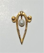 Antique Art Nouveau 10K Yellow Gold Seed Pearl Stick Pin