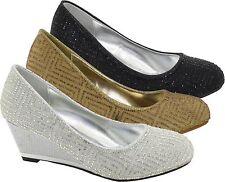 Ladies New Stone Establishment High Top Wedge Heel Pumps  Ladies Court Shoes