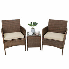 Patio Porch Furniture Sets 3 PCS PE Rattan Wicker Chairs with Cushions & Table