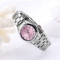 Waterproof Steel Band Analog Quartz Watch Women Ladies Pink Dial Dress Watches