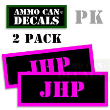 JHP Ammo Decal Sticker bullet ARMY Can Box Gun safety Hunting 2 pack PK