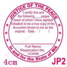 Personalised Custom Self Pre ink Justice of Peace/ JP True Copy Stamps 40mm JP2