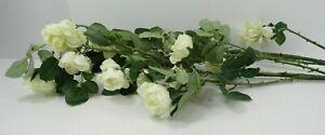 "Pottery Barn Faux Rose Flower Branch White 42"" L 2 Stems  #3028"