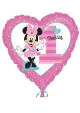 Pink Minnie Mouse 1st Birthday Helium Heart Balloon