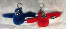 NWOT Two (2) KIPLING Metallic Red Blue Monkeys Key Chain Ring Bag Charm Fob