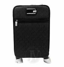 NEW MICHAEL KORS SIGNATURE BLACK PVC TRAVEL TROLLEY ROLLING CARRY ON SUITCASE