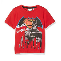BATMAN vs SUPERMAN 4, 6, 8 ou 10 ans t-shirt manches courtes rouge NEUF