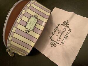 Lulu Guinness purple stripes sunglasses empty soft case bumpy zipper LG hang tag