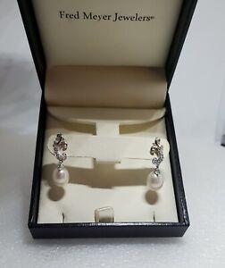 New Fred Meyer Sterling Silver Freshwater Pearl Drop Dangle Earring w Diamonds