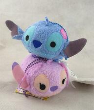 2pcs Disney Tsum Tsum Stitch and Lilo Angel Mini Plush Toy Doll Key Chain New
