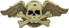 Silver Chrome Skull and Cross Bones Wings BELT BUCKLE Goth dead