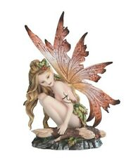 """6.25"""" Fairy with Red Wings Resting on Log Figurine Statue Figure magic Fantasy"""