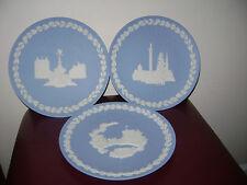 Antique Wedgwood Blue Jasperware 1969 1970 1971 Christmas  Plates 3 pc Lot