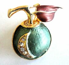 Brooch Gold Plated Green Enamel Apple Pin Crystal Free Shipping Mothers Day Gift