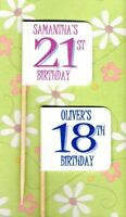 20 PERSONALISED BIRTHDAY CUP CAKE FLAG 18th 21st 30th 40th 50th 60th Pick Topper