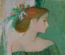 Lithografie Sachiko Imaï - Femme au Robe Verte
