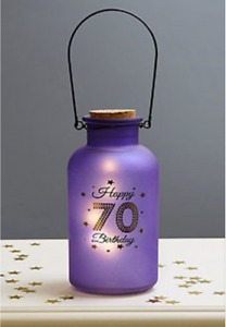 STARLIGHT LILAC 70TH MILESTONE BIRTHDAY LIGHT UP GLASS JAR BOTTLE 70 ILLUMINATED