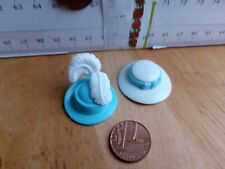 8985 Aqua Hat Feathers + white Hat & Aqua Band - Playmobil New Spare Parts