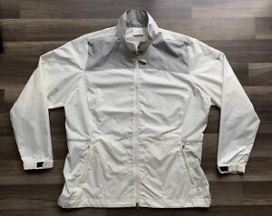 Women's NIKE GOLF Lightweight Full Zip Jacket Sz XL Golf Ivory Gray