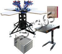 Four Color Four Station Screen Printing Press Flash Dryer Stretched Frames Kit