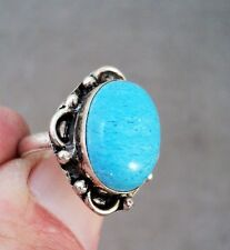 Turquoise & Sterling Silver Ring - Large Stone - Size 7.5 - Estate Find