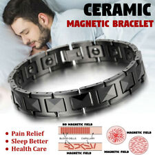 Men's Silver Tungsten Carbide Link High Power Therapy Magnetic Bracelet 8.3Inch