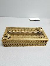 Vintage Tissue Box Cover Holder Metal Gold Ornate Filigree Hollywood Regency