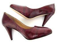 """Paul Smith Court Shoes Wine Red Reptile Skin ALL LEATHER 3.5"""" Heels EU37 UK4"""
