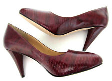 "Paul Smith Court Shoes Wine Red Reptile Skin ALL LEATHER 3.5"" Heels EU37 UK4"