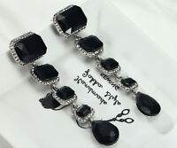 1 Pair Elegant Black Crystal Rhinestone  Ear Drop Dangle Stud long Earrings 172