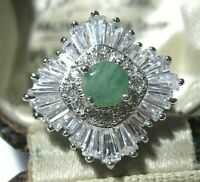 Beautiful STERLING SILVER Real Emerald Gem Stone Art Deco Revival RING Size M 6