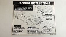1965 Chevy Impala Convertible Jacking Instruction Spare Tire Jack Decal Card